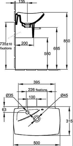Раковина подвесная Jacob Delafon Escale E1025-00