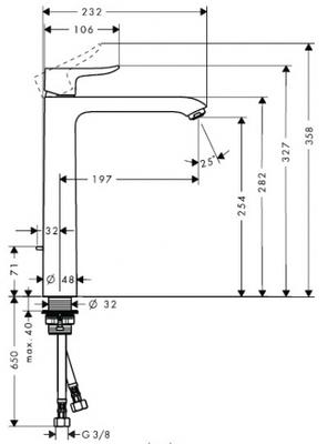 Смеситель для раковины Hansgrohe Metris 31082000 высокий