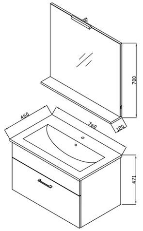 Комплект мебели для ванной Kolpa-San Pixor 76 II WH