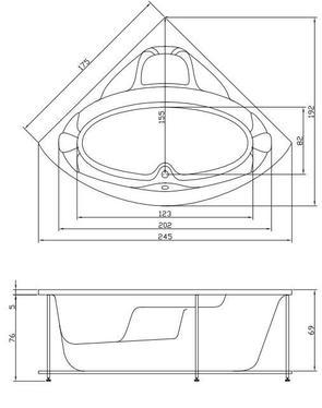 Ванна акриловая Акватика МАКСИМА 175x175