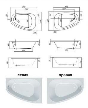 Ванна акриловая Kolpa-san CHAD 170х120 Basis