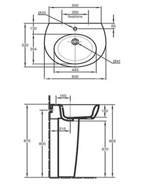 Раковина подвесная Jacob Delafon Ove E1565-00