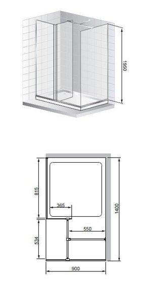 Душевая дверь 1400x900 CEZARES PORTA-W-140-90-C-Cr