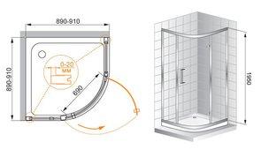 Душевое ограждение 900x900 CEZARES PORTA R12