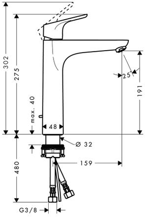 Смеситель для раковины Hansgrohe Focus 31608000 высокий