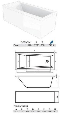 Ванна акриловая Alpen FLORA 170х75х52