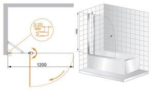 Шторка для ванны 1200х1450 CEZARES TRIUMPH V11