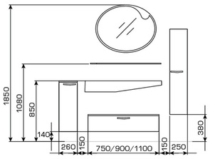 Мебель подвесная для ванной комнаты Valente Lacrima 900