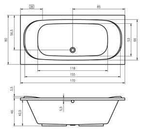 Ванна акриловая Riho Taurus 170х80х46/235 л