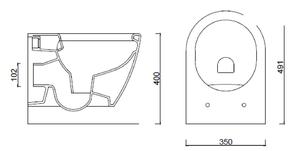 Унитаз BERGES подвесной GEO Rimless 49см Сиденье дюропласт Geo slim SO, микролифт-быстросъем