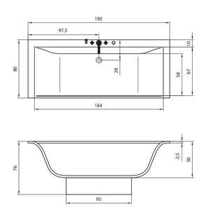 Ванна акриловая Акватика ПЛАЗМА 195x80
