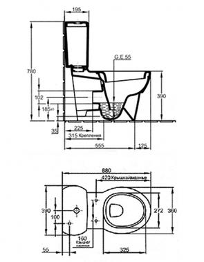 Унитаз напольный Jacob Delafon Ove E1540-00 (19974W-00)
